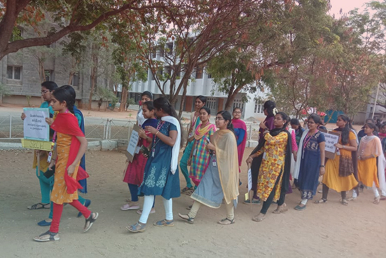 Rally on Women's day at Nirmala College